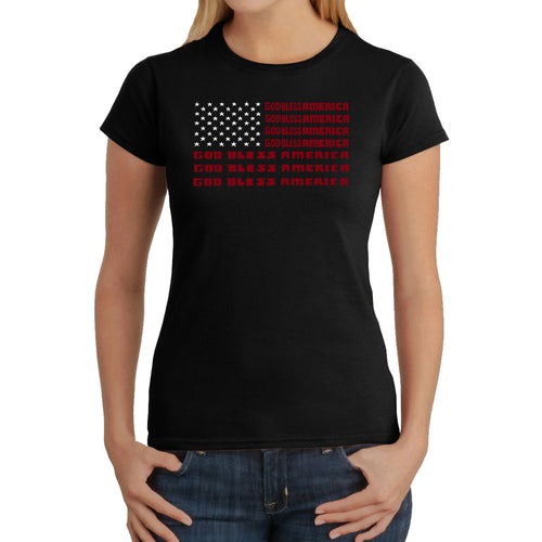 LA Pop Art Women's Word Art T-Shirt - God Bless America