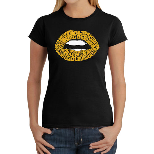 LA Pop Art Women's Word Art T-Shirt - Gold Digger Lips