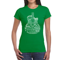 Load image into Gallery viewer, LA Pop Art Women's Word Art T-Shirt - Languages Guitar
