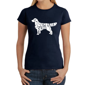 LA Pop Art  Women's Word Art T-Shirt - Golden Retreiver