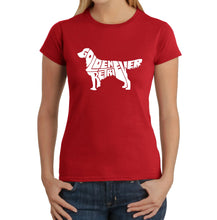 Load image into Gallery viewer, LA Pop Art  Women's Word Art T-Shirt - Golden Retreiver