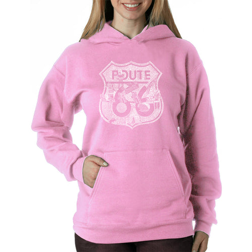 LA Pop Art Women's Word Art Hooded Sweatshirt -Stops Along Route 66