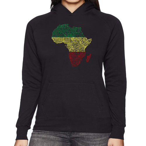 LA Pop Art Women's Word Art Hooded Sweatshirt -Countries in Africa