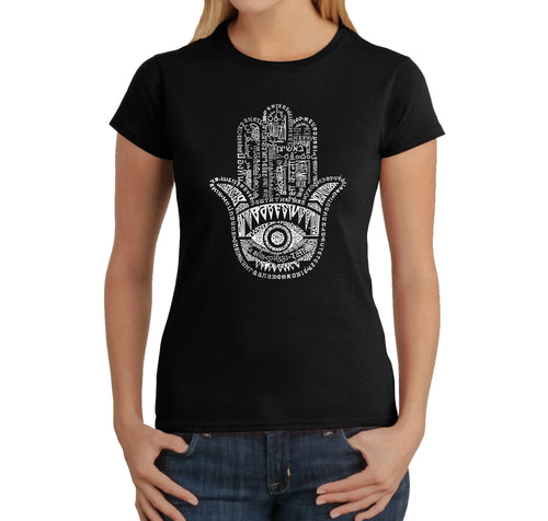 LA Pop Art Women's Word Art T-Shirt - Hamsa