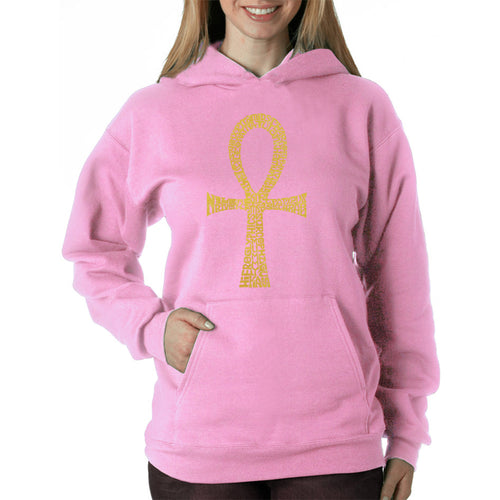 LA Pop Art Women's Word Art Hooded Sweatshirt -ANKH