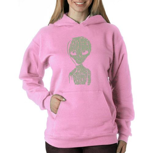 LA Pop Art Women's Word Art Hooded Sweatshirt -Alien