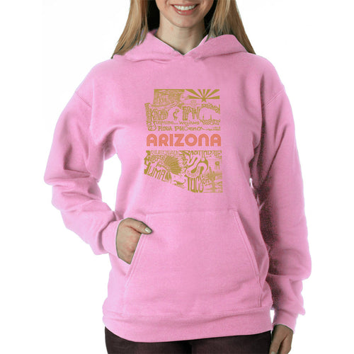 LA Pop Art Women's Word Art Hooded Sweatshirt -Az Pics