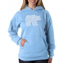 Load image into Gallery viewer, LA Pop Art Women's Word Art Hooded Sweatshirt -Bear Species