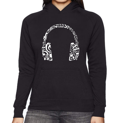 LA Pop Art Women's Word Art Hooded Sweatshirt - Music Note Headphones