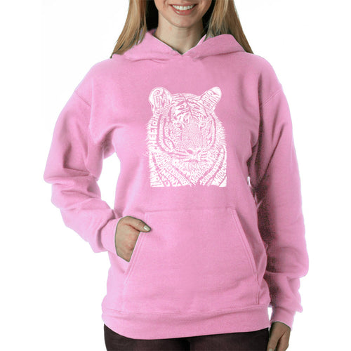 LA Pop Art  Women's Word Art Hooded Sweatshirt -Big Cats