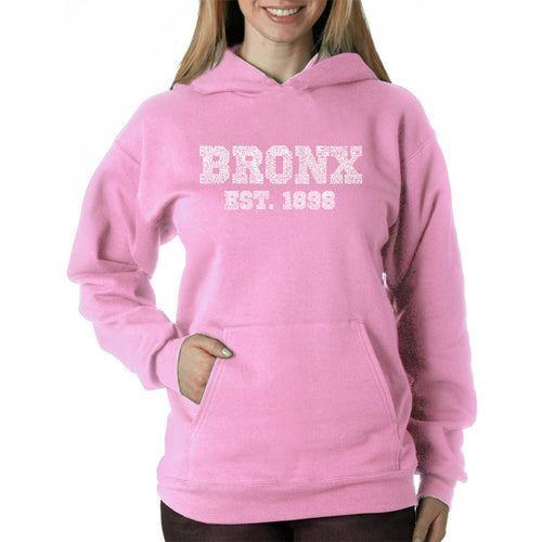 LA Pop Art Women's Word Art Hooded Sweatshirt -POPULAR NEIGHBORHOODS IN BRONX, NY