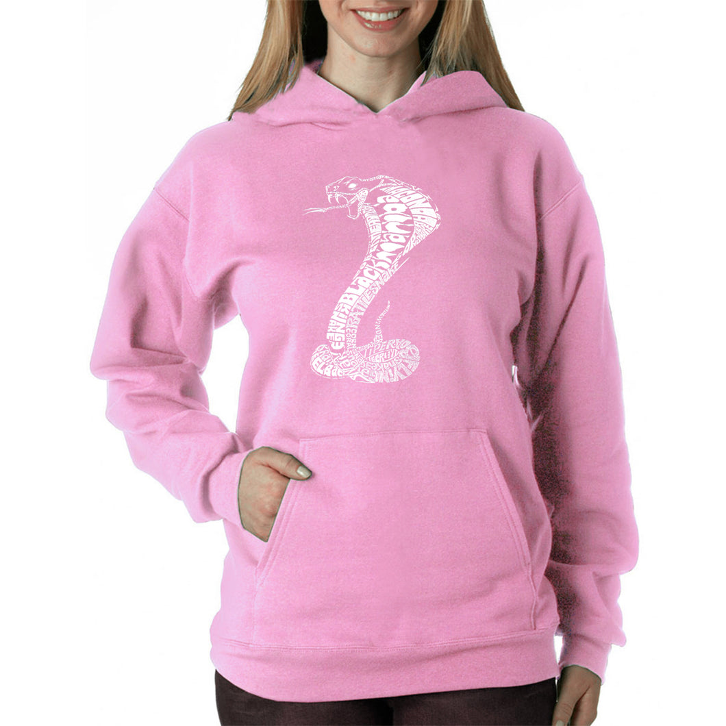 LA Pop Art  Women's Word Art Hooded Sweatshirt - Types of Snakes