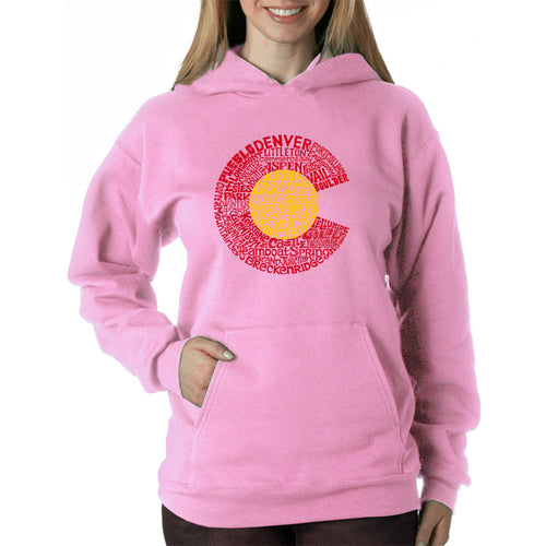 LA Pop Art Women's Word Art Hooded Sweatshirt -Colorado