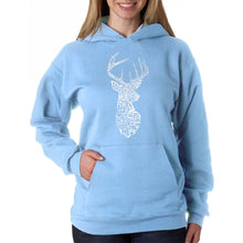 Load image into Gallery viewer, LA Pop Art Women's Word Art Hooded Sweatshirt - Types of Deer