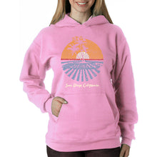 Load image into Gallery viewer, LA Pop Art Women's Word Art Hooded Sweatshirt -Cities In San Diego