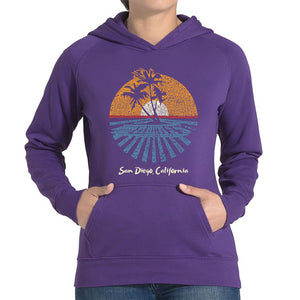 LA Pop Art Women's Word Art Hooded Sweatshirt -Cities In San Diego