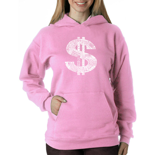 LA Pop Art Women's Word Art Hooded Sweatshirt -Dollar Sign