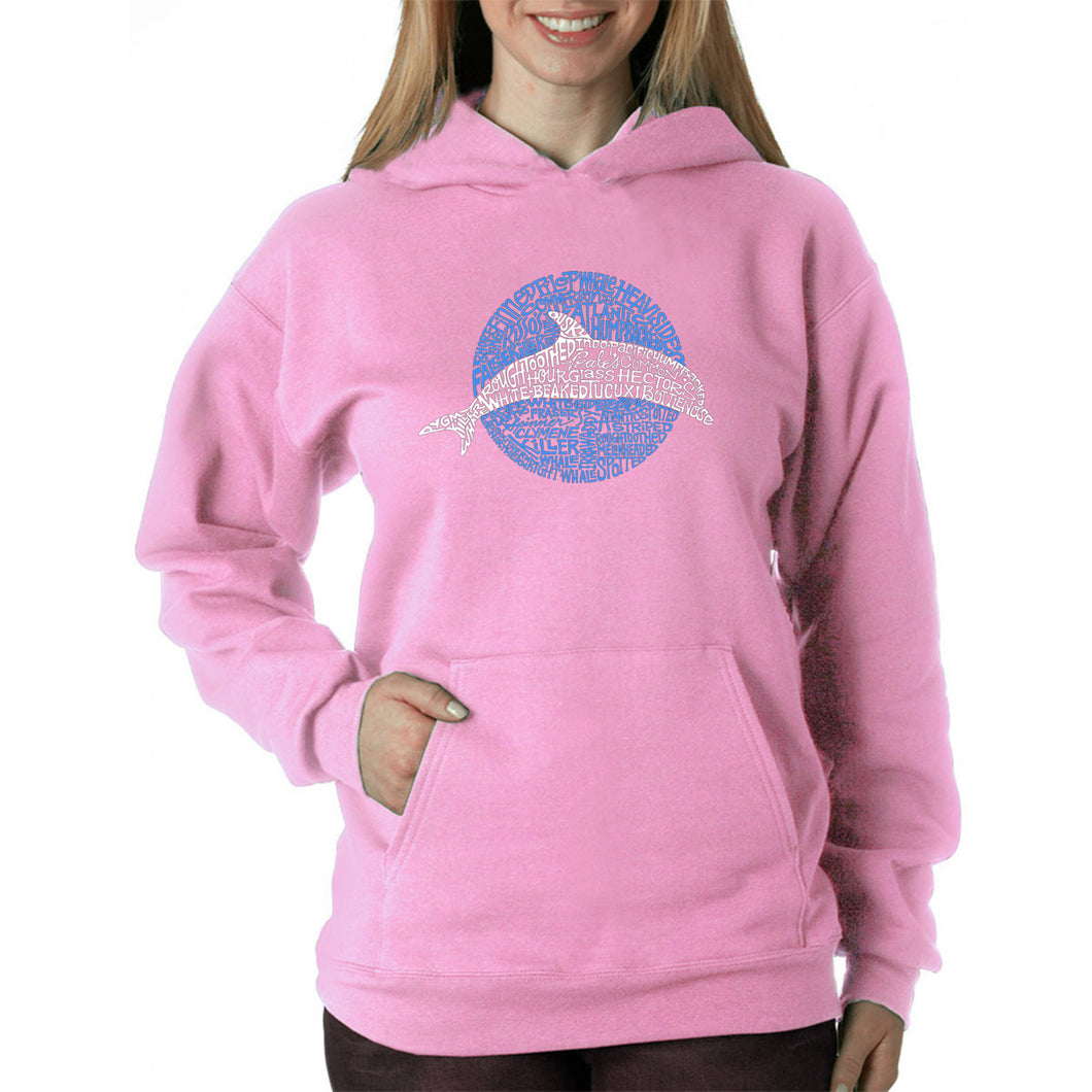 LA Pop Art  Women's Word Art Hooded Sweatshirt -Species of Dolphin