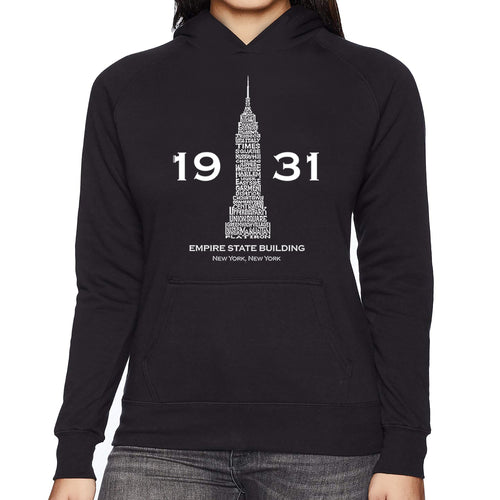 LA Pop Art Women's Word Art Hooded Sweatshirt -Empire State Building