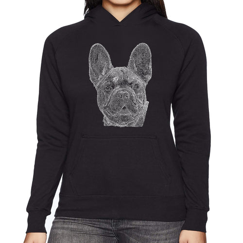 LA Pop Art Women's Word Art Hooded Sweatshirt -French Bulldog