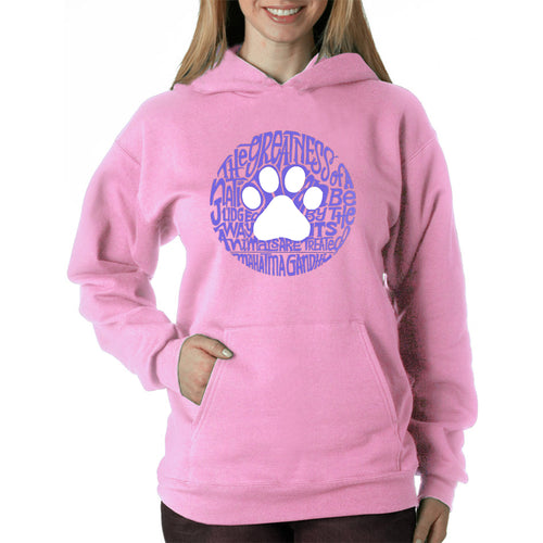 LA Pop Art  Women's Word Art Hooded Sweatshirt -Gandhi's Quote on Animal Treatment