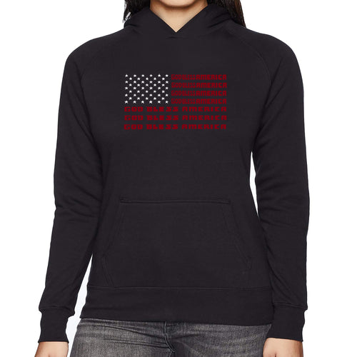 LA Pop Art Women's Word Art Hooded Sweatshirt -God Bless America
