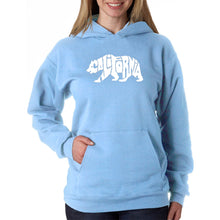 Load image into Gallery viewer, LA Pop Art Women's Word Art Hooded Sweatshirt -California Bear