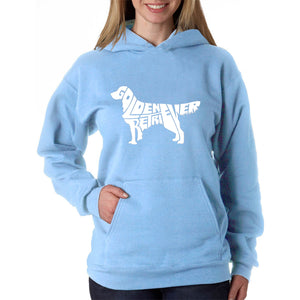 LA Pop Art  Women's Word Art Hooded Sweatshirt -Golden Retreiver