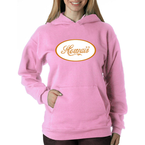 LA Pop Art Women's Word Art Hooded Sweatshirt -HAWAIIAN ISLAND NAMES & IMAGERY