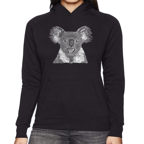 LA Pop Art Women's Word Art Hooded Sweatshirt -Koala