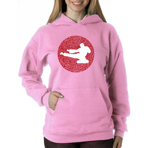 LA Pop Art Women's Word Art Hooded Sweatshirt -Types of Martial Arts