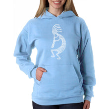Load image into Gallery viewer, LA Pop Art Women's Word Art Hooded Sweatshirt - Kokopelli