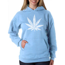 Load image into Gallery viewer, LA Pop Art Women's Word Art Hooded Sweatshirt -50 DIFFERENT STREET TERMS FOR MARIJUANA