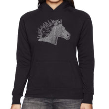 Load image into Gallery viewer, LA Pop Art Women's Word Art Hooded Sweatshirt -Horse Mane