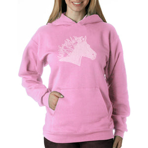 LA Pop Art Women's Word Art Hooded Sweatshirt -Horse Mane
