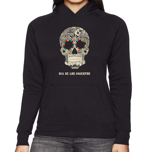 LA Pop Art Women's Word Art Hooded Sweatshirt -Dia De Los Muertos