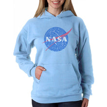 Load image into Gallery viewer, LA Pop Art  Women's Word Art Hooded Sweatshirt -NASA's Most Notable Missions