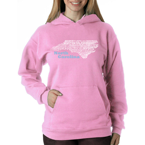 LA Pop Art Women's Word Art Hooded Sweatshirt -North Carolina