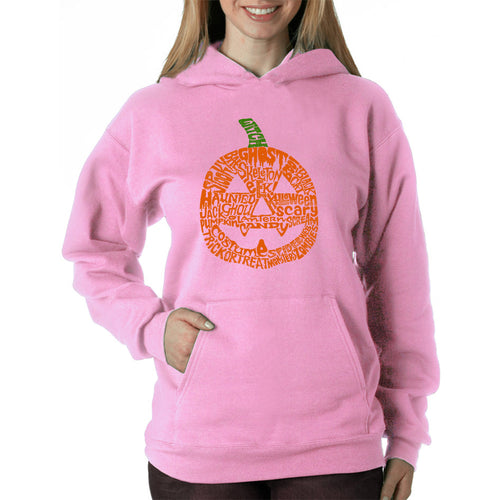 LA Pop Art Women's Word Art Hooded Sweatshirt -Pumpkin