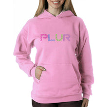 Load image into Gallery viewer, LA Pop Art  Women's Word Art Hooded Sweatshirt -PLUR