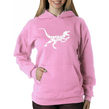 Load image into Gallery viewer, LA Pop Art Women's Word Art Hooded Sweatshirt - Velociraptor