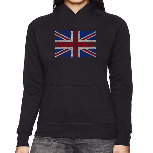 LA Pop Art Women's Word Art Hooded Sweatshirt -God Save The Queen