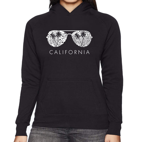 LA Pop Art Women's Word Art Hooded Sweatshirt -California Shades