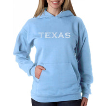 Load image into Gallery viewer, LA Pop Art Women's Word Art Hooded Sweatshirt -THE GREAT CITIES OF TEXAS