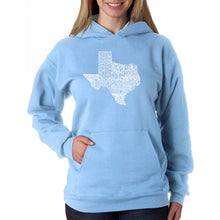 Load image into Gallery viewer, LA Pop Art Women's Word Art Hooded Sweatshirt -The Great State of Texas
