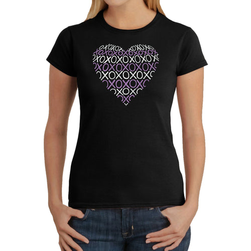 LA Pop Art Women's Word Art T-Shirt - XOXO Heart