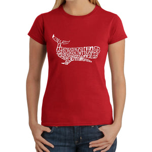 LA Pop Art  Women's Word Art T-Shirt - Humpback Whale