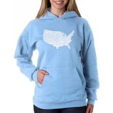 Load image into Gallery viewer, LA Pop Art Women's Word Art Hooded Sweatshirt -THE STAR SPANGLED BANNER