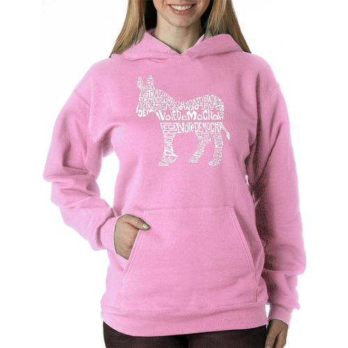 LA Pop Art Women's Word Art Hooded Sweatshirt -I Vote Democrat