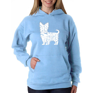 LA Pop Art Women's Word Art Hooded Sweatshirt - Yorkie